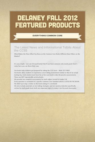Delaney Fall 2012 Featured Products