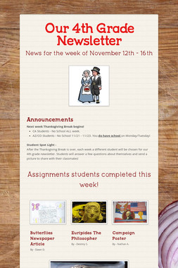 Our 4th Grade Newsletter