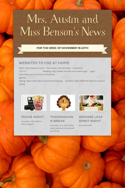 Mrs. Austin and Miss Benson's News