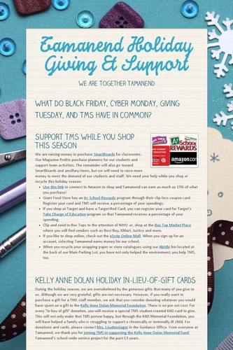 Tamanend Holiday Giving & Support