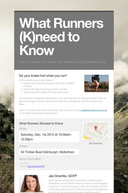 What Runners (K)need to Know