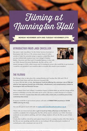 Filming at Nunnington Hall