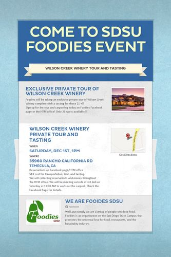 Come to SDSU Foodies Event