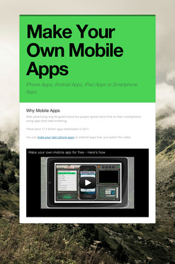 Make Your Own Mobile Apps