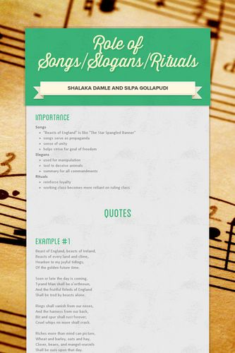 Role of Songs/Slogans/Rituals