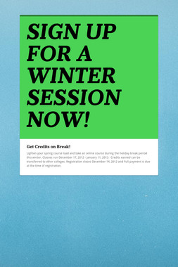 SIGN UP FOR A WINTER SESSION NOW!