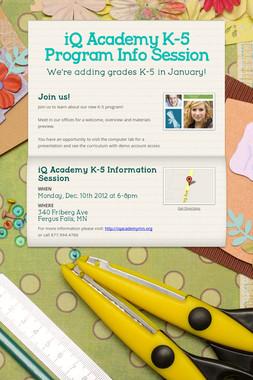 iQ Academy K-5 Program Info Session
