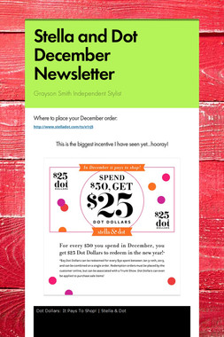 Stella and Dot December Newsletter