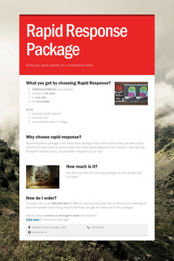 Rapid Response Package
