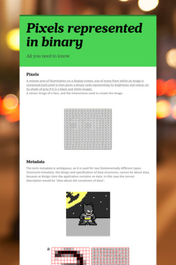 Pixels represented in binary