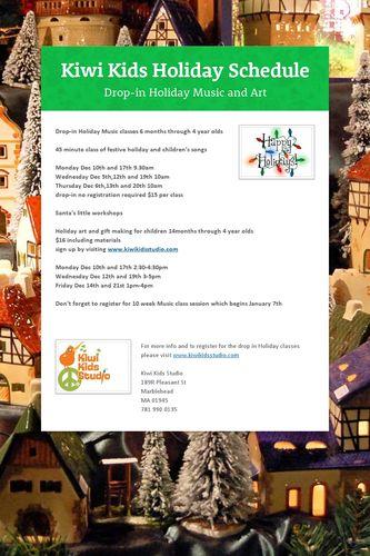 Kiwi Kids Holiday Schedule