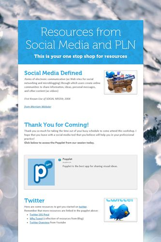 Resources from Social Media and PLN