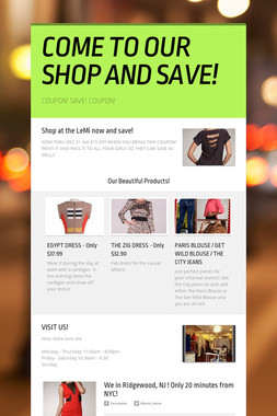 COME TO OUR SHOP AND SAVE!