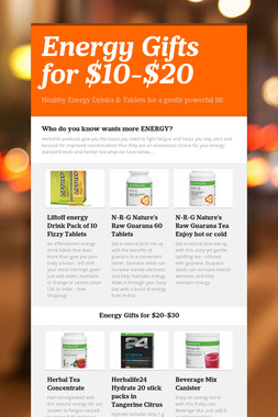 Energy Gifts for $10-$20