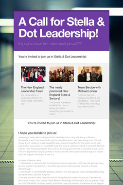 A Call for Stella & Dot Leadership!