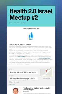 Health 2.0 Israel Meetup #2
