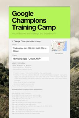 Google Champions Training Camp