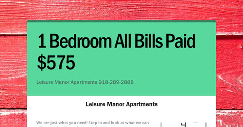 1 Bedroom All Bills Paid 575 Smore