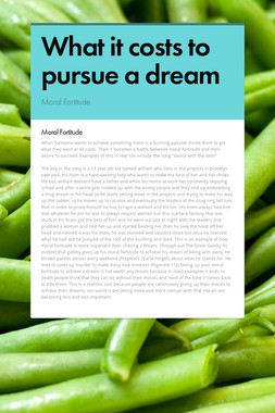 What it costs to pursue a dream