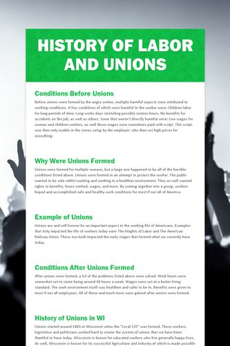 History of Labor and Unions