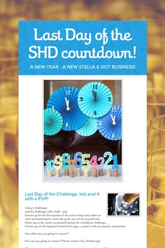 Last Day of the SHD countdown!