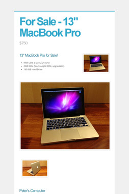 "For Sale - 13"" MacBook Pro"
