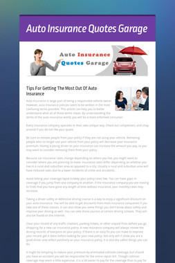 Auto Insurance Quotes Garage