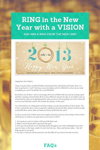 RING in the New Year with a VISION