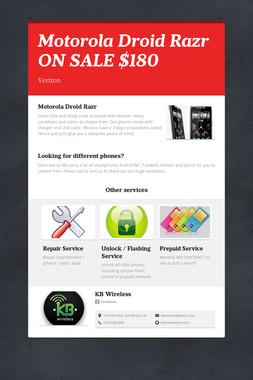 Motorola Droid Razr ON SALE $180