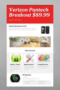 Verizon Pantech Breakout $89.99
