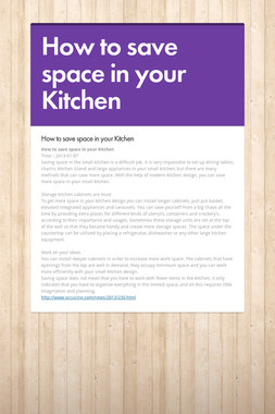 How to save space in your Kitchen