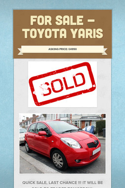 For Sale - Toyota Yaris