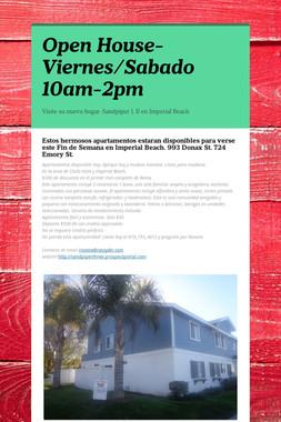 Open House-Viernes/Sabado 10am-2pm