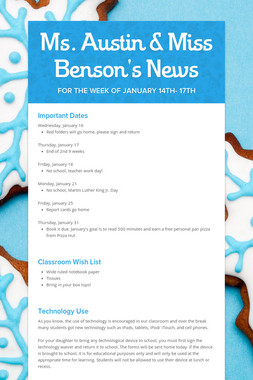 Ms. Austin & Miss Benson's News