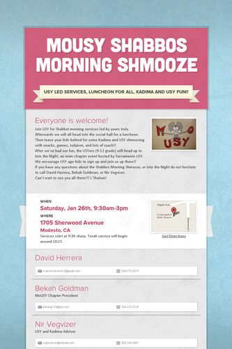 MoUSY Shabbos Morning Shmooze