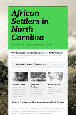 African Settlers in North Carolina