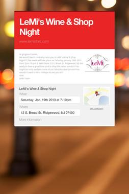 LeMi's Wine & Shop Night