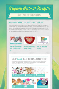 Origami Owl~31 Party!!!