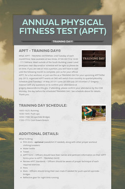 Annual Physical Fitness Test (APFT)