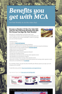 Benefits you get with MCA