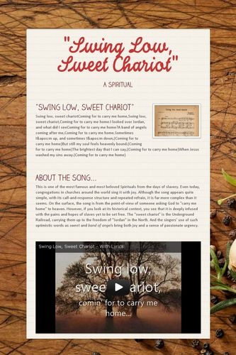 """""""Swing Low, Sweet Chariot"""""""
