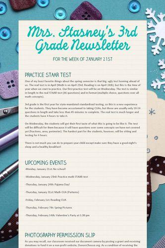 Mrs. Stasney's 3rd Grade Newsletter