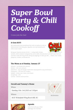 Super Bowl Party & Chili Cookoff