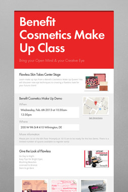 Benefit Cosmetics Make Up Class