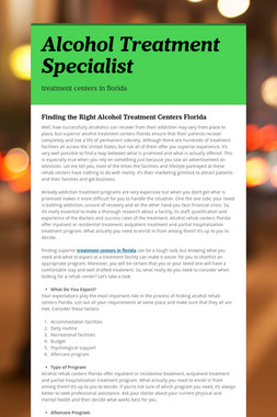 Alcohol Treatment Specialist