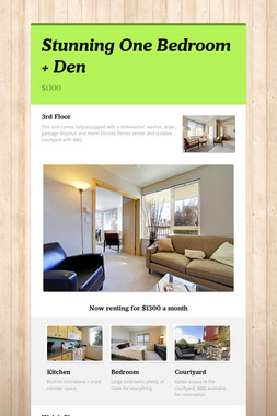 Stunning One Bedroom + Den