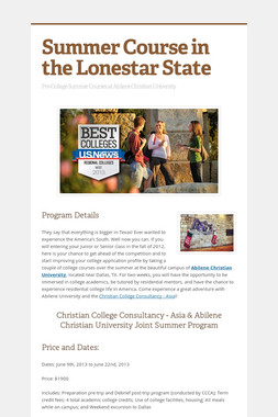 Summer Course in the Lonestar State