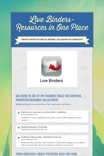 Live Binders-Resources in One Place