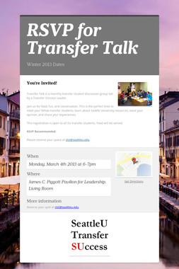 RSVP for Transfer Talk