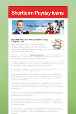 Shortterm Payday loans